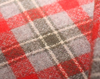 Wool, Plaid of red, sage green and gray