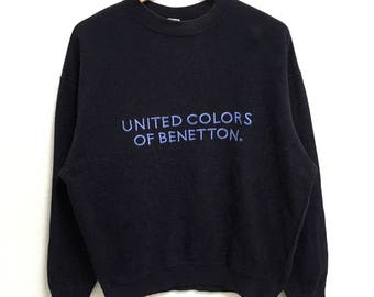 RARE!!!! United Color Of Benetton Big Logo Embroidery SpellOut Crew Neck Dark Blue Colour Sweatshirts Hip Hop Swag S Size