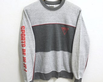 RARE!!! NCAA Descente Small Logo SpellOut Crew Neck Grey Colour Sweatshirts Hip Hop Swag L Size