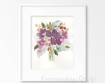 Purple Loose Bouquet - 8x10 Original Watercolor