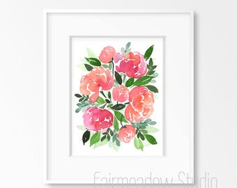 Pink Coral Peonies - 8x10 Original Watercolor