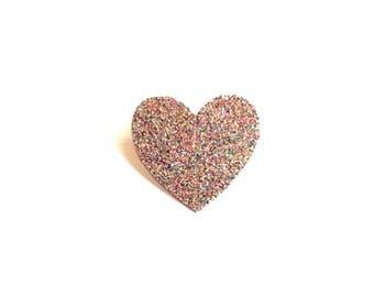 """Brooch """"little glittery multicoloured heart"""""""