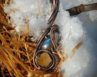 Horizon* blue labradorite, citrine point and copper wire wrapped pendant