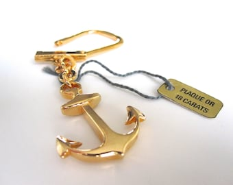 Anchor keychain gold plated (18 carats) / Made in france/ 1960- jewel/sailor/vintage/boat/present for sea lovers