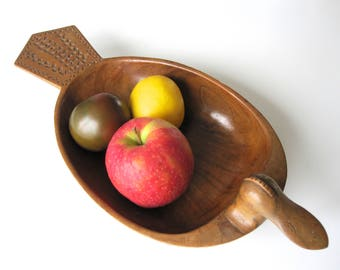 Wooden duck scandinavian design hand made / coupe à fruits vintage / canard en bois / vide poche suédois / folklore scandinave /  ethnique