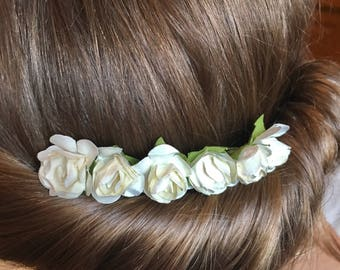 Ivory bridal decorative comb, mulberry paper flowers, Bridesmaid hair comb, wedding hair comb, decorative comb, flower girl hair piece,