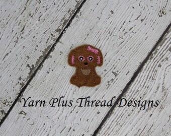 Brown Puppy Feltie Embroidery Design