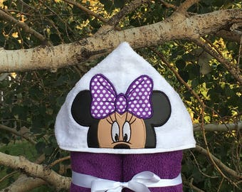 Minnie Mouse Inspired Hooded Bath Towel