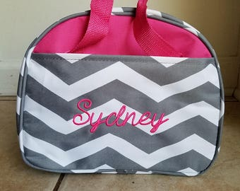 Monogram lunch bag pink and grey chevron