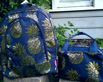 Pineapple Backpack and Lunch bag set in Navy and Gold