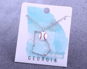 Customizable! State of Mine: Georgia Baseball Enamel Necklace - Great Baseball Gift!