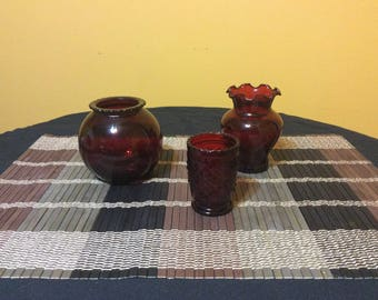 Shabby Chic Romantic Ruby Red Assortment Flass Tealight Candleholders