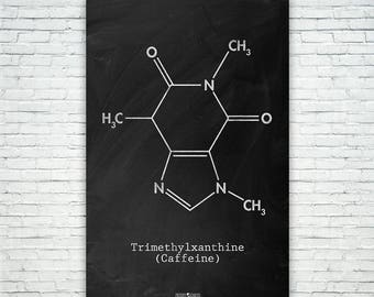 Caffeine Molecule Poster Science Art Print Gift FREE SHIPPING, Caffeine, Coffee Gift, Espresso Gift, Patent Art, Patent Print, Patent Poster