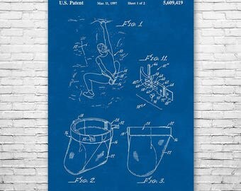 Rock Climbing Chalk Bag Poster Patent Art Print Gift FREE SHIPPING, Climber, Bouldering, Rappel, Rappelling, Vintage, Wall, Home, Decor