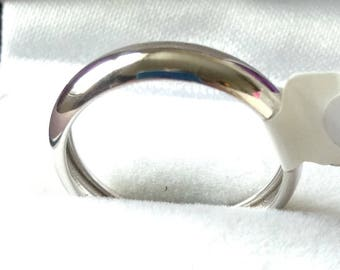 18ct white gold wedding ring, 750 white gold bridal ring with tag, 4mm - Size 6.5