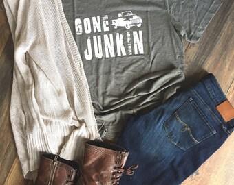 Gone Junkin Tshirt, Junkin' Shirt, Flea Market Shirt, Junkin t-shirt, Junk t-shirt, Love of Junk, Shirts for women, Vintage Junkin' Shirt