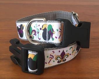 Mickey Mardi Gras dog collar- size medium