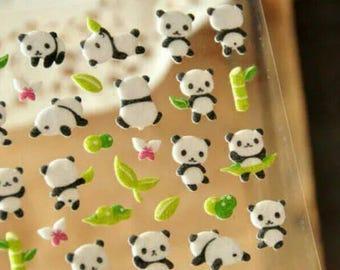 Panda Felt Stickers Planner Sticker Panda Stickers Animal Bamboo Kawaii Bear Cute Stickers