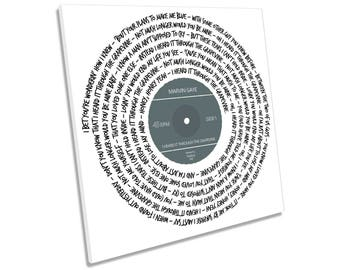 Marvin Gaye I Heard It Through the Grapevine Song Lyrics Vinyl CANVAS WALL ART Picture Square Print