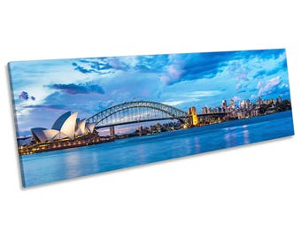Sydney Harbour Blue City Skyline CANVAS WALL ART Panoramic Framed Print
