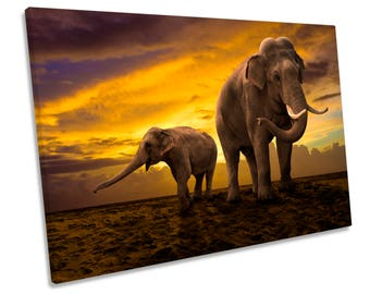 Elephants Sunset Africa Safari CANVAS WALL ART Print Picture