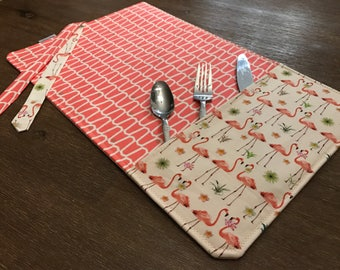 Flamingo (FLAMINGO) / placemat roll utenciles, portable place mat, for school, for work!