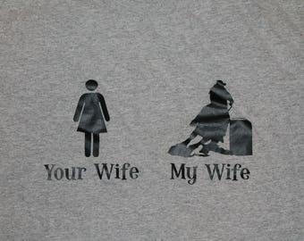 Your Wife vs My Wife Barrel Racing T-Shirt | Barrel Racer Wife | Barrel Racer Husband |