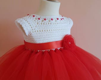 red tutu dress, crochet dress, crochet yoke, princess dress, bridesmaid dress, baby dress, toddler dress, baptism dress