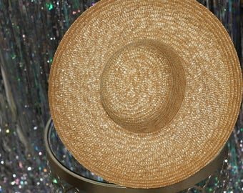 90's Classic Straw Hat with Wide Brim *Excellent Condition