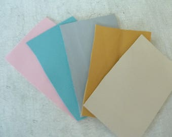 leather, x 5 pastel leather rectangles coupons