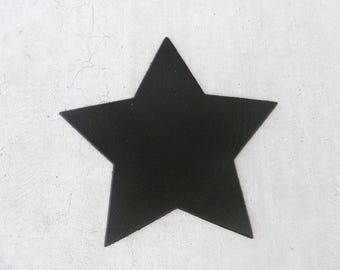 large star 9 cm fine leather, black, for creation and customization