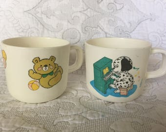 Vintage Plastic Baby Children's Drinking Handled Cups - Teddy Bear and Balloon - Puppy Dog and Music Piano