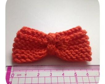 1 bow tie orange cotton and crochet