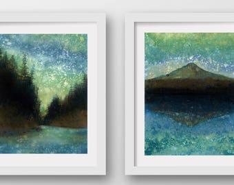 SET of TWO Forest Rain Paintings, limited edition, fine art prints, Mt Hood, Cascades, Oregon art