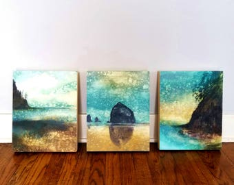 SET of THREE, 11x14 Oregon Coast Rain Prints on Panels, ready to hang, Haystack Rock, Oregon Coast