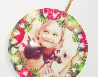 Ceramic Christmas Ornament with your Photo. In Free Velvet Gift Bag.