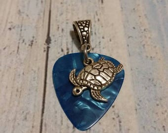 Guitar pick pendant, guitar pick necklace, blue guitar pick pendant, blue guitar pick necklace, guitar picks with charms, plectrum