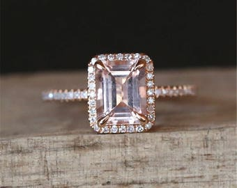 Gold Morganite Engagement Ring Natural 6*8mm Emerald Cut Morganite Ring Diamonds Halo Ring Half Eternity Stackable Ring 14K Rose Gold Ring
