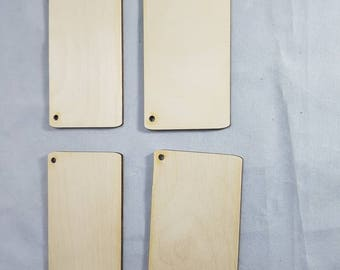 4 Blank retangles birchwood ply ideal for pyrographics sign practising tools