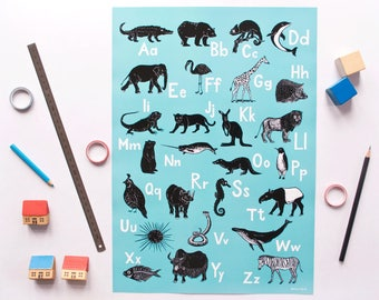 ABC-Poster animals, english alphabet poster, animal illustrations, turquoise, scratchboard, nursery or kids room, interior decoration, print