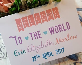 Welcome To The World - Personalised Baby Card