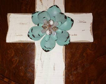 White wooden rustic jeweled decorated hanging cross