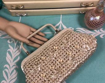 Vintage Crochet Raffia HandBag | Beaded Raffia Purse | Off White Purse | 60's Bag | Summer Purse | Convertible Purse