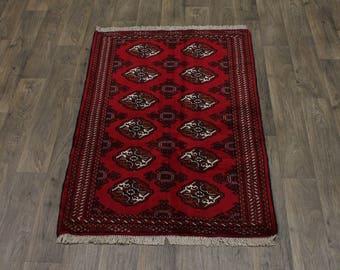 Stunning Handmade Small Ghoochan Turkoman Persian Area Rug Oriental Carpet 3X5