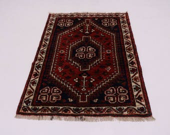 Stunning Tribal Design Shiraz Fars Persian Wool Rug Oriental Area Carpet 3'6X5