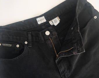 Calvin Klein Black Denim Jeans // Retro Designer Jeans // US Womens 12 // Bootcut Jeans // Upcycled Vintage Clothing