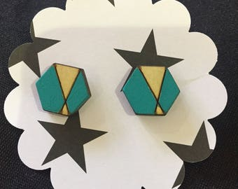 Laser cut hexagon earrings