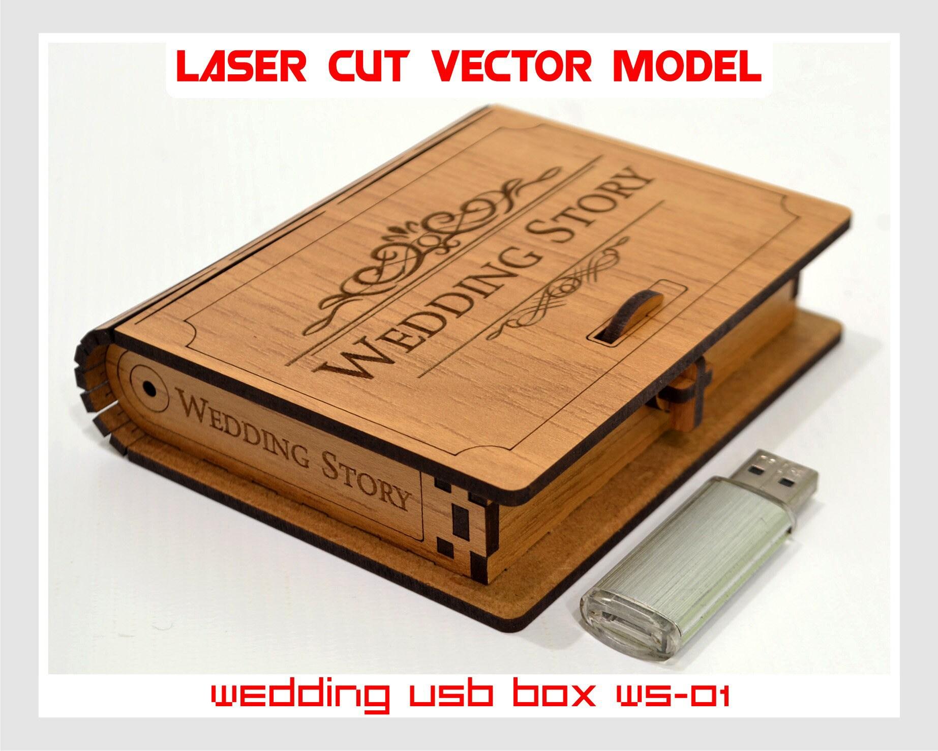 laser cut wood box template - wooden small box wedding usb case wedding usb box