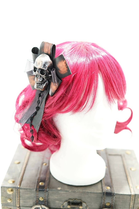 Gothic skull copper & black bow hairpin brooch / copper of black skull resin with bow hair clip and brooch