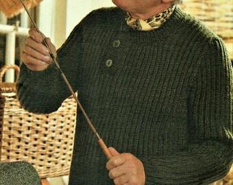Mens Fishermans rib Sweater Knitting Pattern pdf